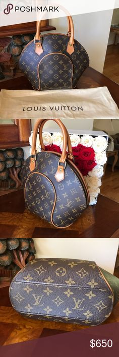 """Louis Vuitton Monogram Canvas Ellipse PM Bag Craving a bag that is chic and feminine? This unique, smaller-sized Louis Vuitton Ellipse PM is the one for you. The structures shape of this bag has the capacity to hold all your daily essentials while being easy to tote around town.  The measurements are  12""""L x 2.5""""W x 10""""H with the handle drop at 4.25"""". It has one flat pocket, double zip closure with brown canvas textile lining with gold tone hardware. It's in excellent condition, comes with…"""