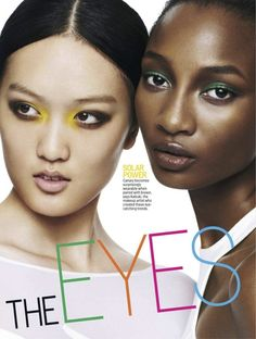 Magazine: Cosmopolitan US March 2013  Title: The Eyes of March  Photographer: David Oldham  Models: Chantal Stafford-Abbott, Teng Teng and Shena Moulton  Stylist: Charles Manning  Hair: Ryan Trygstad  Make-up: Kabuki  Nails: Liang