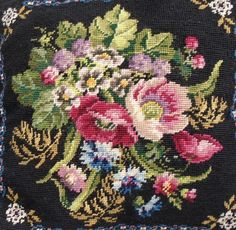 Vintage 60s Multi FRENCH Floral Wool NEEDLEPOINT PILLOW Hand Made Shabby Prairie Cottage Victorian Farmhouse Chic by FRENCHPRAIRIECOTTAGE on Etsy