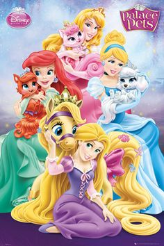 Disney Princess - Palace Pets Poster Featuring: Aurora (Sleeping Beauty) and Beauty Ariel and Treasure Cinderella and Pumpkin Rapunzel and Blondie Walt Disney Princesses, Disney Princess Drawings, Disney Princess Art, Disney Princess Pictures, Disney Pictures, Disney Drawings, Disney Png, Anime Disney, Art Disney