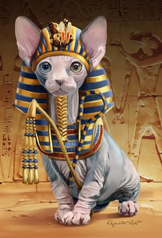 DIY Diamond Embroidery Animals Pharaoh Avatar Diamond Sphinx Cat Diamond Painting with Square Stones Wall Decor Gato Sphinx, I Love Cats, Cute Cats, Chat Sphynx, Egyptian Cats, Cross Paintings, Cat Drawing, Pet Portraits, Cat Art