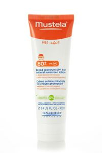 Broad spectrum SPF 50+ mineral sunscreen lotion. Maybe good for her eczema.