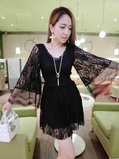 DR003288 V-neck lace trumpet sleeves high waist summer dress