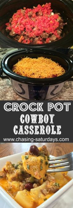 Crock Pot Cowboy Casserole potatoes slow cooker Chasing Saturdays dinner easy meals - April 28 2019 at Crock Pot Food, Crockpot Dishes, Crock Pot Slow Cooker, Healthy Crockpot Recipes, Slow Cooker Recipes, Cooking Recipes, Cooking Tips, Hamburger Crockpot Recipes, Crockpot Cowboy Casserole