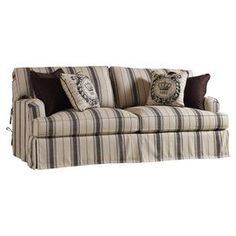 Striped sofa with ultra down seat cushions.  Product: SofaConstruction Material: Linen, wood and foamColor: Black and biegeFeatures:  Ultra down seat cushionAccent pillows not included Dimensions: 39 H x 83 W x 42 D