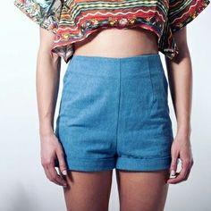 High waist stonewashed jean shorts. On sale! #retro shorts #jeans