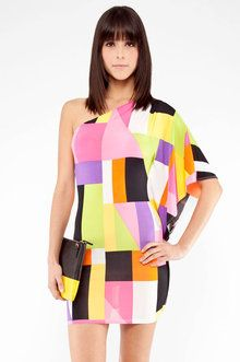 Geo Shoulder Dress in Multi