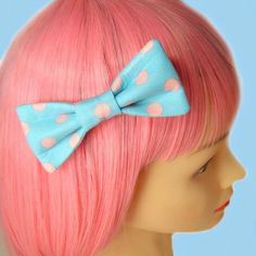 Kawaii Polka Dot Pastel Goth Fairy Kei Retro 80s Hair Bow Clip Barrette Puffy Bow