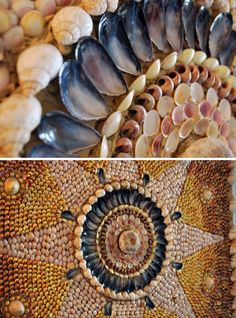 Margate Shell Grotto - reproduction of the star pattern to show original colours and impact - photo by rocketlass Seashell Art, Seashell Crafts, Beach Crafts, Shell House, Shell Beach, Mosaic Wall, Star Patterns, Sea Shells, Arts And Crafts