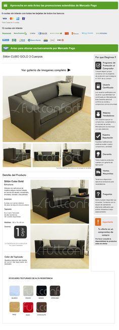 Sillon Sofa Cubo 3 Cuerpos Ecocuero Asiento Placa 6/12 Cuota - $ 2.763,00