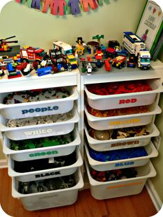 This is simple yet genius: color-coded LEGO storage. (You could also divide them up by size instead.)