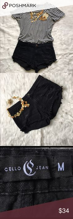 """CELLO Jeans Los Angeles Distressed Denim Shorts CELLO Jeans Los Angeles Distressed Black Denim Shorts 100 % Cotton  Waist 16"""" Gently pre- owned condition with no flaws Urban Outfitters Shorts"""