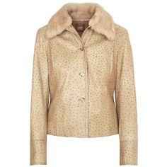CASSIN NEW YORK genuine fur collar tan ostrich leather button front jacket sz.M #Cassin #OstrichSkin #LeatherJacket #FurCollar