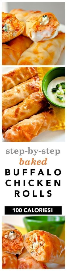Baked Buffalo Chicken Egg Rolls Recipe! Heres the easy step by step guide showing you how to make healthy buffalo chicken rolls with egg roll wrappers, blue cheese, hot sauce, and broccoli slaw! Perfect as an appetizer but they also work as a main meal, too! 103 calories per roll #chickenrecipeshealthybroccoli