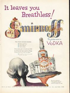 "1953 SMIRNOFF VODKA vintage magazine advertisement ""leaves you Breathless"" ~ It leaves you Breathless! - Smirnoff - The greatest name in vodka - Try these summer drinks - Vodka and Tonic - Vodka Martini - Vodka Collins ... By exclusive appointment ..."