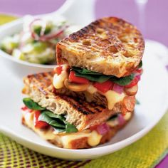 Panini With Sautéed Mushrooms and Gruyère:  Your stomach certainly won't be grumbling after finishing this panini, which has 18 grams of protein to keep hunger and cravings in check. Spinach and red onions also give the sandwich a satisfying crunch. Get the recipe   Health.com
