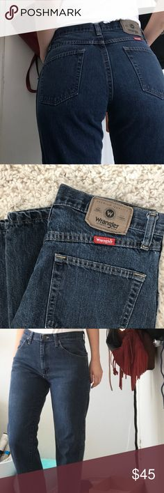 Vintage Wrangler Jean These are amazing condition Wrangler jeans in a deep, worn dark blue color. Fit like a jean is supposed to! Hugs in all the right places. Tag says 32 but it fits more like a 29-30. GET THE PERFECT BUTT!! Wrangler Jeans