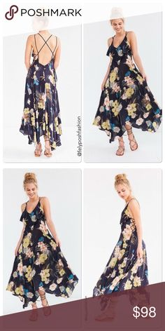 Urban Outfitter Ecote Ashley Ruffle Ink Maxi Dress Urban Outfitters Ecote Ashley Ruffle Ink Maxi Dress Fantastically femme floral navy maxi dress is brought to you by UO's own Ecote label. Floral navy outer cut in a fluttering butterfly maxi silhouette. Topped with a v-neckline with a ruffle accent. Finished with an open back with double criss-crossed straps and lace-up accented sides.  Things to know: - Mixed fibres - Machine wash  Size & Fit: - Model wears: Small - Model height…