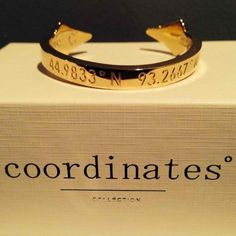 coordinates of a sentimental place...honeymoon, first house, proposal..