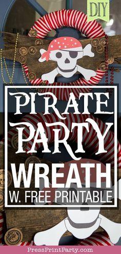 12 PIRATE BALLOONS party birthday skull crossbone kids BLUE RED capitan hook