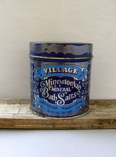 VILLAGE MINNETONKA Mineral Bath Salts Blue Tin Canister Advertising Antique Collectible Shabby Chic Decor Collectible Tin