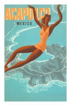 Acapulco, Mexico: Woman and Water Premium Poster