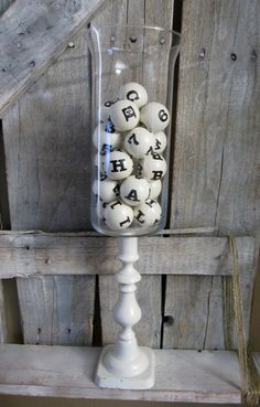 I think I am going to make these into BINGO balls for Grandma Margie for Christmas (simple centerpieces funeral) Bingo Night, Game Night, Quinceanera, Bingo Party, 90th Birthday Parties, Grandma Birthday, Simple Centerpieces, Colorful Party, Casino Party