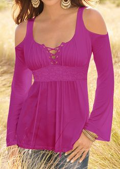 Solid Ruffled Lace Up Off Shoulder Blouse - Fairyseason