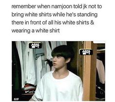 Jungkook standing in front of his wardrobe full of white t-shirts while wearing a white t-shirts and while planning on buying a white a t-shirt at a white t-shirts shop