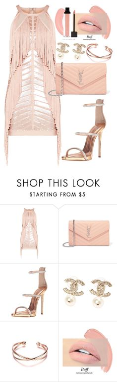 """""""Untitled #572"""" by dreamer3108 on Polyvore featuring Hervé Léger, Yves Saint Laurent, Giuseppe Zanotti, Chanel and summerdatenight"""
