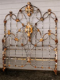 Spanish Gothic With Beautiful Religious Cross Casting In The Middle Circa 1860 Ricky Jordan Iron Bed