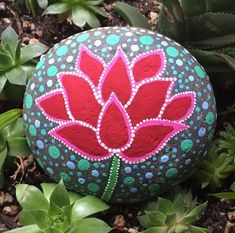 Hand Painted Lotus Rock by ForTheLoveOfRocks on Etsy