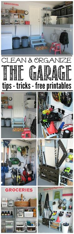 Great ideas to get your garage organized once and for all! Free printables included to keep you on track.