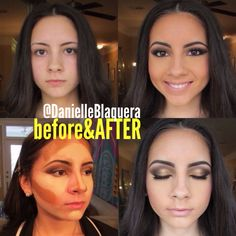 before and after makeup highlight and contouring