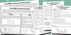 Incredible Inventions of Ancient Sumer Differentiated Comprehension Activity Sheets