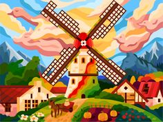 The spirit of domestic animals still enlivens this old mill designed by Andrii Bezvershenko. Connect with them on Dribbble; the global community for designers and creative professionals. Landscape Illustration, Flat Illustration, Digital Art Girl, Windmill, Art World, Cute Art, Vector Art, Coloring Books, Adult Coloring