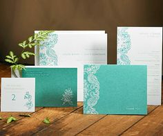 Take a classic element and add a tropical twist. Delicate lace pairs with a Caribbean Sea aqua in this engraved invitation from Louella Press. The crisp white cardstock complements the romantic design. Customize the color palette to match your wedding.