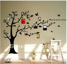 Photo frame family tree wall decal vinyl wall art decals removable black tree wall sticker in wall stickers from home garden on aliexpress com Tree Design On Wall, Wall Art Designs, Wall Design, Diy Wand, Design Seeds, Vinyl Wall Decals, Wall Stickers, Mur Diy, Diy Wall Painting