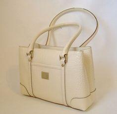 Liz Claiborne Purse Handbag Cream Off White Faux Croc Tote Satchel Shoulder Bag #LizClaiborne #TotesShoppers