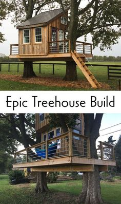 This instructable is designed to help you build a tree house (almost) all for its . This instructable is designed to help you build a tree house (almost) all for its … Beautiful Tree Houses, Cool Tree Houses, Pallet Tree Houses, Tree House Plans, Building A Treehouse, Tree House Designs, Backyard Playground, Outdoor Projects, Play Houses