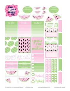 FREE Summer Melons Sticker Planner Stickers by Pinkbow & Twinkle toes