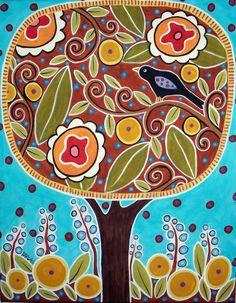 Árvore do pássaro Flores 8x10 Canvas giclée Karla Gerard