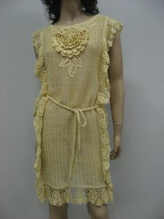 Buy CROCHET Tunic, Rustic LINEN Dress, Knitted Daffodil Tunic,BOHO Tunic,Linen Tunic, Crochet Dress,Handmade Linen Tunic by talitahandmade. Explore more products on http://talitahandmade.etsy.com