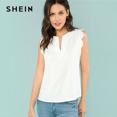 Sleeveless V-Neck Scallop Casual Top Summer Regular Fit Elegant Blouse Beige Solid Shirt For Women Trim Shell Top Scallop Top, Pastel Fashion, Plain Tops, Shell Tops, Beige, V Cuts, Summer Tops, Summer Blouses, Casual Tops