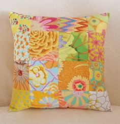 Sunshine Yellow Patchwork Cushion Decorative by LavenderBluDesigns
