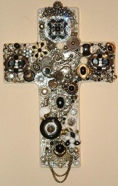 Beautiful Handcrafted BLACK & SILVER Jeweled Cross Sculpted Vintage Jewelry - Wall Art - Black Silver Gold