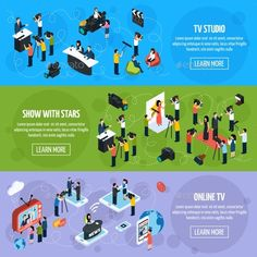Media tv isometric horizontal banners with reporters and journalists in different situations vector illustration. Editable EPS and