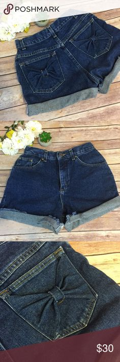 High waisted Denim shorts bow pockets Excellent condition. 😍😍😍 Shorts Jean Shorts