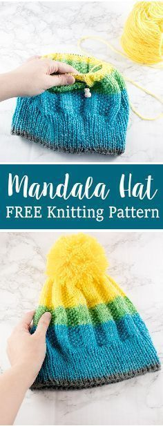Free knitting hat pattern for the mandala yarn by lion brand. By craftytuts