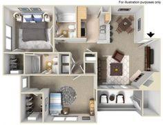 B1 2 Bedrooms / 2 Bathrooms 984 sq. ft.